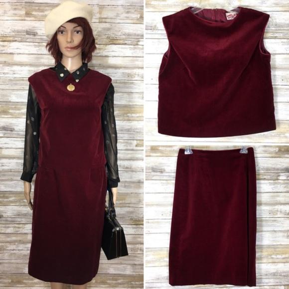 Vintage Dresses & Skirts - Vintage 1960's Maroon Velvet Shirt & Skirt Set USA